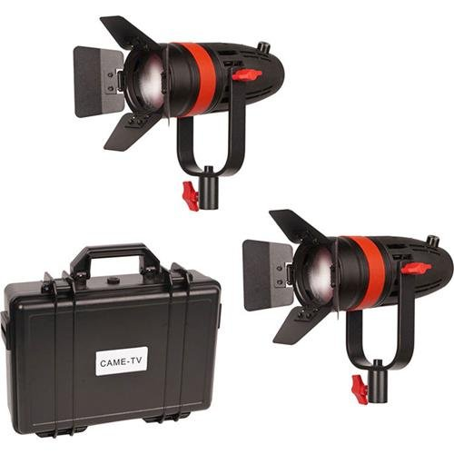 Came-TV Boltzen F-55W Fresnel 55W Focusable LED Daylight 2-Light Kit, Includes 2x AC Power Cord, 2x Power Adapter, Hard Travel Case