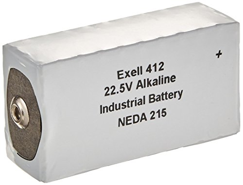Exell Battery 412A Alkaline 22.5V Battery NEDA 215, 15F20, BLR122, White/Silver