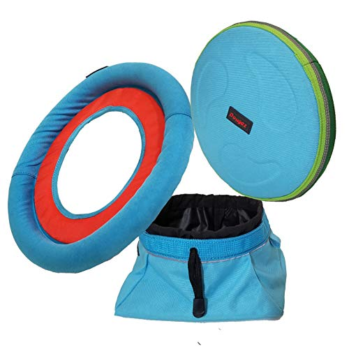 Mr. Peanut's 3 Piece Doggie Playtime Toy & 68oz Collapsible Travel Water Bowl Set Including Durable Chewproof & Weatherproof Flying Disc and Ring Toss -