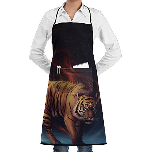 (Novelty Flaming Tiger Moon Kitchen Chef Apron With Big Pockets - Chef Apron For Cooking,Baking,Crafting,Gardening And BBQ)
