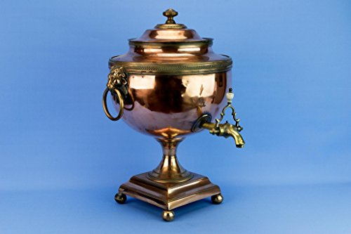 Regency Large Copper Kettle Hot Water Urn Lion Samovar Antique English Early 1800s Neo-Classical by Lavish Shoestring