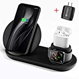 Wireless Charger, 3 in 1 Wireless Charging Stand for Apple Watch and Airpods,Qi Fast Wireless Charging Station Compatible iPhone X/XS/XR/Xs Max/8/8 Plus, for Apple Watch Series 4/3/2/1 AirPods,Black