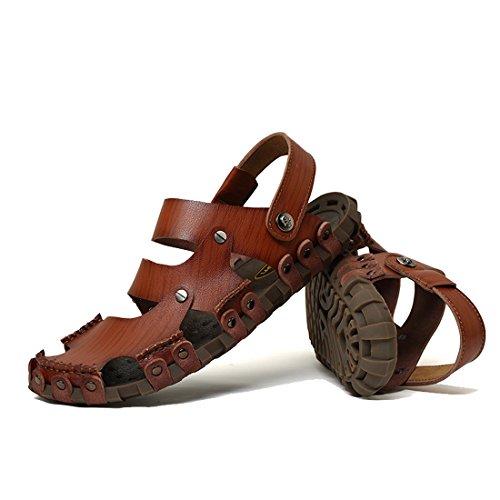 Dekesen Mens Avslappnade Äkta Läder Sandal Dk Brown2