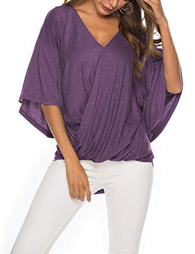 (Pop lover Women Casual V Neck Tee Shirts Bell Sleeve High Low Hemline Blouses Tops (Purple, 2XL))