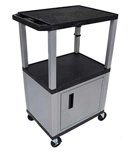 H WILSON WT42C4E-N 3-Shelf AV Cart with Cabinet, Tuffy, 42