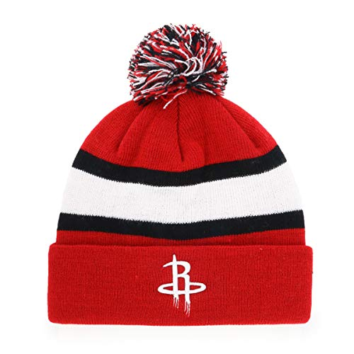 NBA Youth Houston Rockets Rush Down OTS Bravo Cuff Knit Cap with Pom, Red, X-Large