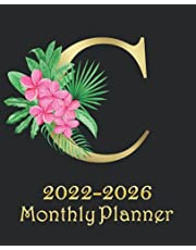"""2022-2026 Monthly Planner """"C"""": Large 5 year Calendar for Women with Gold And Floral Monogram Letter, Black Elegant Cover   60 Month Schedule Organizer, Journal & Personal Appointment, Self Care Log Book   Five Year At A Glance Strategic Planning Notebook"""