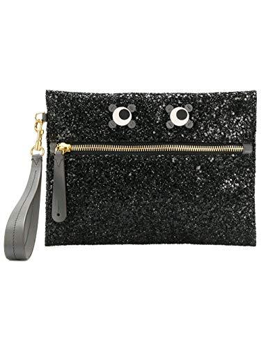 Anya Hindmarch Women's 980364 Black Glitter Clutch
