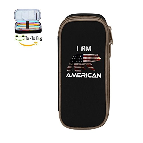 Large Capacity Canvas Mobile Phone Case Multi-Colored for Bairn Print I Am American Black