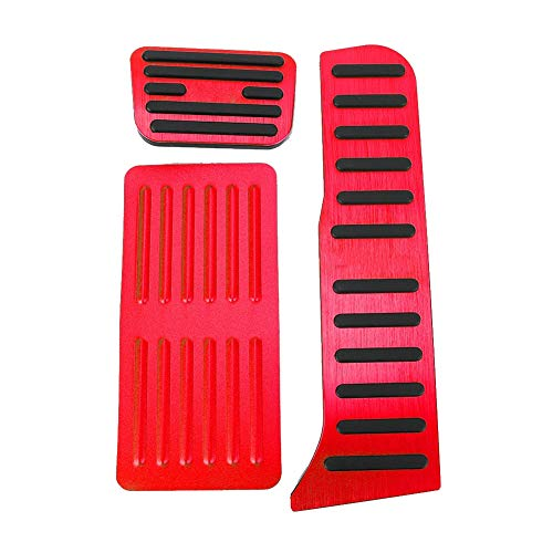 Tbest Brake Pedal Kit,3pcs No-Slip Brake Pedal Aluminum Alloy Fit for Automatic Transmission Car (Red)