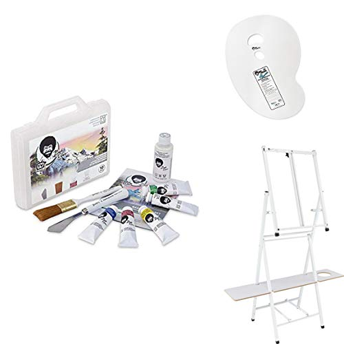 Bob Ross Basic Paint Set – 10 Piece Landscape Set with Plastic Storage and Carry Case, 2-in1 Studio Easel, Clear Plastic…