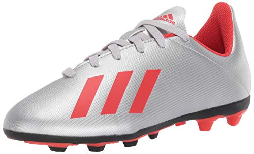 adidas Unisex X 19.4 Firm Ground Soccer Shoe, Silver Metallic/hi-res red/White, 11.5K M US Little Kid