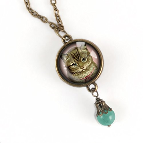 Victorian Tabby cat pendant necklace with dangling accent bead