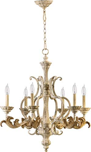 Quorum 6037-6-70 Florence – Six Light Chandelier, Persian White Finish