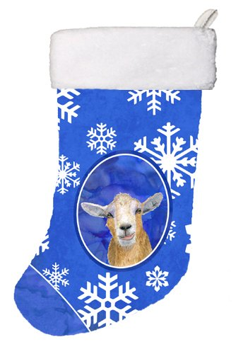 Caroline's Treasures Goat Winter Snowflakes Holiday Christmas Stocking, 11 x 18, ()