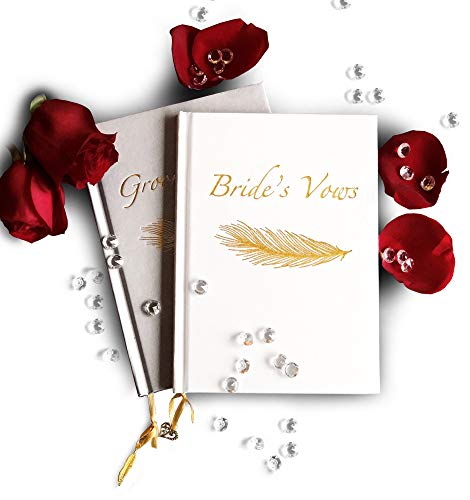 (ELEGANT Wedding Vows books for Bride and Groom (set of 2), His and Hers debossed gold cover, gilded edge pages, gold ribbon, heart & feather charm, collection of unique wedding vows, marriage ceremony)