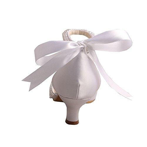 Scarpe Da Sposa Wedopus Mw448 Da Donna A Punta Tacco Basso Con Perle Bianche Da Sposa