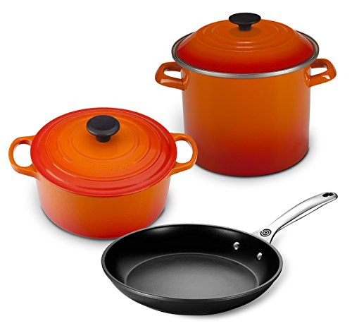 - Le Creuset 5pc Oven and Stovetop Cookware Set (4.5-Quart Round Dutch Oven, 6-Quart Covered Stockpot, 10-Inch Toughened Nonstick Fry Pan) - Flame