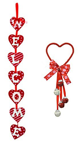Valentine's Day Red Door Knob Bell Hanger and Welcome Banner Bundle - 2 pc (Red) (Welcome Bell)