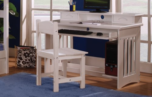 Twin Over Full Stair Stepper Bed with Trundle, Desk, Hutch, Chair and 5 Drawer Chest in White Finish by Discovery World Furniture (Image #2)