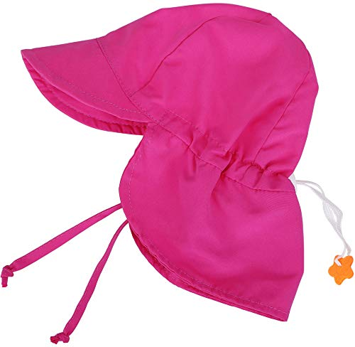 SimpliKids UPF 50+ UV Ray Sun Protection Baby Hat w/ Neck Flap & Drawstring,Rose Pink,0-6 - Monogrammed Baby Hats