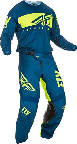 Fly Racing - 2019 Kinetic Shield (Mens Navy & HI-VIS X-Large/34W) MX Riding Gear Combo Set, Motocross Off-Road Dirt Bike Light Weight Durable Jersey & Mesh Comfort Liner Stretch Pre Shaped Knees Pant