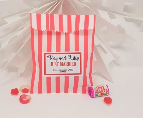Personalised Sweet Treat Favour Gift Bags Children/'s Birthday Candy Cart Buffet