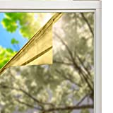 SOLARDIAMOND Window Film Privacy Mirror One Way Heat Control Sun Blocking Insulation Films Roll UV Protection Decorative Residential Tint For Home Office Self-Adhesive Reflective Silver Gold 40inX15ft