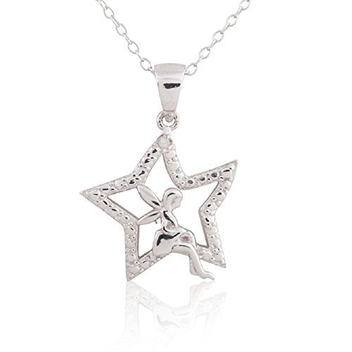 Sterling Silver Rhodium Plated Diamond Accent Fairy in Star Pendant Necklace, - Diamond Star Rhodium