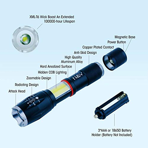 Portable Small Waterproof LED Flashlight - Battery Powered - 5 Light Modes - Magnetic for Camping Hiking Emergency