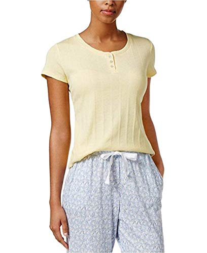 Nautica Henley Ribbed Knit Pajama T-Shirt Yellow Medium