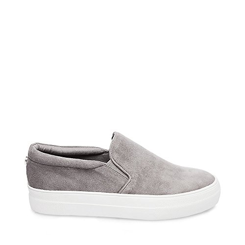 Steve Madden Women's Gills Fashion Sneaker, Grey Suede, 5.5 M US