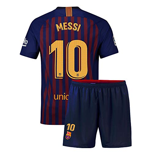 Eyibv Youth Messi Jersey 2018-2019 Kids Home Soccer Shorts 10 Boys Barcelona Sizes Blue (Blue, L=26(9-10Years Old)) (Fc Barcelona Jersey Kids)