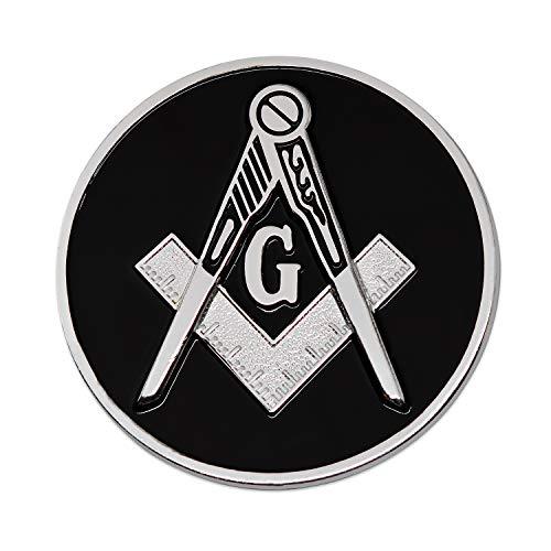Square & Compass Round Black & Silver Masonic Auto Emblem - 3