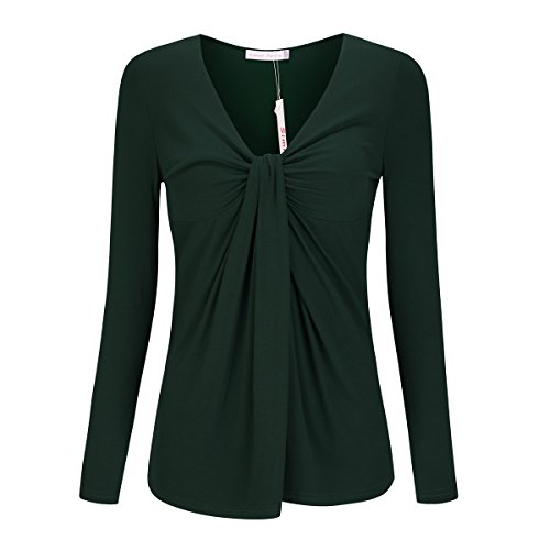 Fashion Twist Knot Front Rayon Tshirt Blouse Clothing For Women Green L