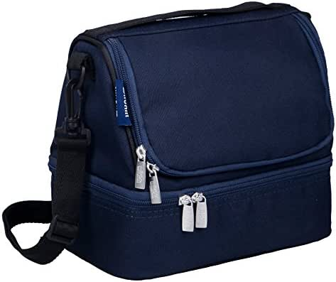 Wildkin Two Compartment Lunch Bag, Insulated, Moisture Resistant and Easy to Clean, Complete with a Microwave and Dishwasher-Safe Container, Ages 5+, Perfect for Kids & On-The-Go Parents, Whale Blue
