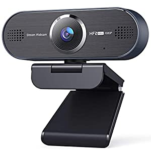 UNZANO 1080P 60FPS Full HD Webcam with Dual Noise Reduction Microphone Auto Focus USB Streaming