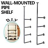 MY Furniture Industrial Retro Wall Mount Iron Pipe Shelf Rustic 4 Tiers DIY Home Improvement Bookshelves (2 pcs)