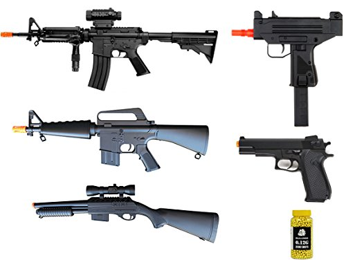 A&N Airsoft pack of 6 Bundle- 2xAirsoft Electric Rifles, Airsoft Spring Rifle- Airsoft Spring Powered Shotgun -Airsoft Spring pistol- Pack of 2000 BB pellets. Six Gun Bundle