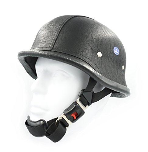 Hot Rides Classic Chopper Biker Motorcycle Helmet Novelty German Leather (PU) Black - Helmet Leather Novelty