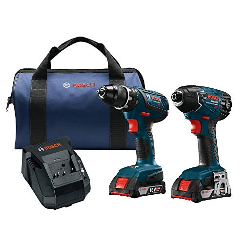 Bosch Power Tools Drill Set - CLPK232A-181 - 18-Volt Cordless Drill Driver/Impact Combo Kit with 2 Batteries, 18V Charger and Soft Carrying Case ()