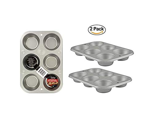 (Collective Bargain 2 Muffin Baking Pans 6-Cup. Stainless Steel Oven Cooking Pan. Dish Washer SFE)