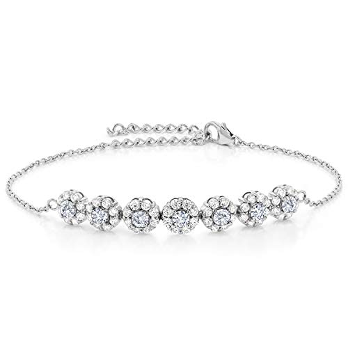 (Gem Stone King 925 Sterling Silver Pendant Tennis Bracelet Timeless Brilliant (IJK) Round 1.12ct (DEW) Created)