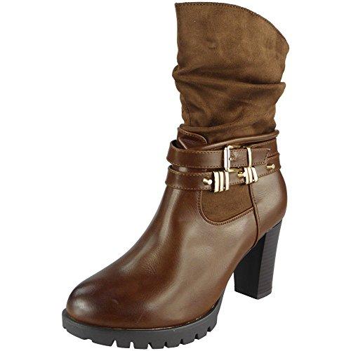 Damen Riemchen Schnalle Reißverschluss Hacke Party Knöchel Stiefel Größe 36-41 Bräunen