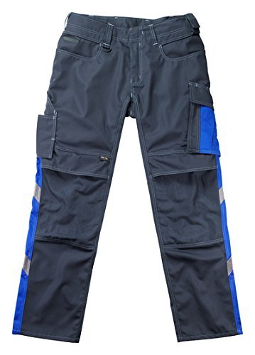 Mascot 12679442-01011-76C54''Mannheim'' Safety Trousers, Black-Blue/Cornflower Blue, L76cm/C54