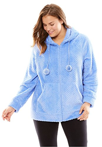 Sleeve Bed Jacket (Dreams & Co. Women's Plus Size Plush Hooded Bed Jacket French Blue,1X)