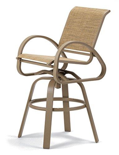 Beachwood Bar Stool (Telescope Casual Furniture Aruba II Sling Collection Bar Height Swivel Café Chair, Sutton, Beachwood Finish)