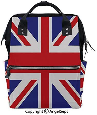 Multi-Function Waterproof Maternity Baby,Classic Traditional Flag United Kingdom Modern British Loyalty Symbol Decorative Royal Blue Red White,15.7 inches,for Boy/Girl On Travel with Stroller Straps