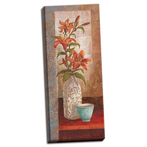 (PosterArtNow Canvas Spiced Jewels I - Mini Amazing Modern Bouquet Best Vase Sign Awesome Flower Cup 08x20)