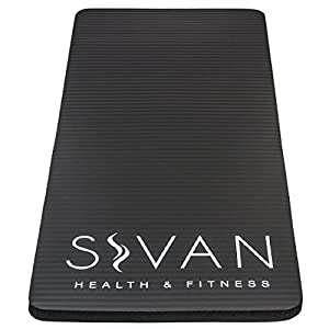 Sivan Health and Fitness Yoga Knee Pad– Includes Cushion Pressure Points for Fitness Exercise Workout – Great for Knees, Wrists, and Elbows While Doing Yoga, Pilates, and More (Black)